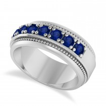 Men's Seven-Stone Blue Sapphire Milgrain Ring 14k White Gold (1.05 ctw)