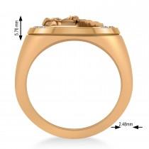 Men's Diamond Stallion & Horseshoe Fashion Ring 14k Rose Gold (0.36 ctw)