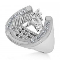 Men's Diamond Stallion & Horseshoe Fashion Ring 14k White Gold (0.36 ctw)