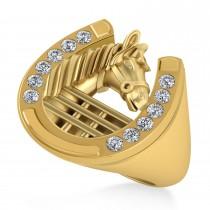 Men's Diamond Stallion & Horseshoe Fashion Ring 14k Yellow Gold (0.36 ctw)