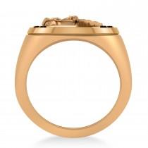 Men's Black Diamond Stallion & Horseshoe Fashion Ring 14k Rose Gold (0.36 ctw)