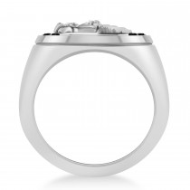 Men's Black Diamond Stallion & Horseshoe Fashion Ring in 14k White Gold (0.36 ctw)