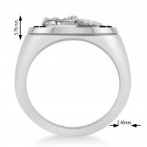 Men's Black Diamond Stallion & Horseshoe Fashion Ring 14k White Gold (0.36 ctw)