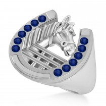 Men's Blue Sapphire Stallion & Horseshoe Fashion Ring 14k White Gold (0.36 ctw)