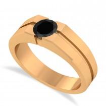 Men's Black Diamond Solitaire Fashion Ring 14k Rose Gold (1.00 ctw)