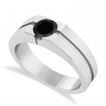 Men's Black Diamond Solitaire Fashion Ring 14k White Gold (1.00 ctw)