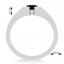 Men's Black Diamond Solitaire Fashion Ring 14k White Gold (1.00 ctw)