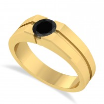 Men's Black Diamond Solitaire Fashion Ring 14k Yellow Gold (1.00 ctw)