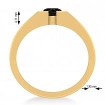 Men's Black Diamond Solitaire Fashion Ring 14k Yellow Gold (1.00 ctw)