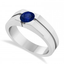 Men's Blue Sapphire Solitaire Fashion Ring 14k White Gold (1.00 ctw)