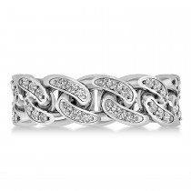 Diamond Novelty Chain Men's Ring 14k White Gold (0.63ct)