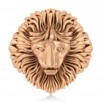 Men's Lion Head Ring 14K Rose Gold