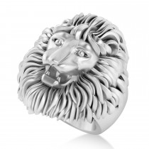 Men's Lion Ring in 14K White Gold