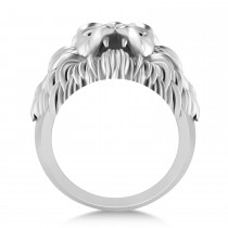 Men's Lion Head Ring 14K White Gold
