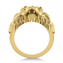 Men's Lion Head Ring 14K Yellow Gold