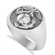 United States Marine Corps Men's Signet Fashion Ring 14k White Gold