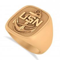 United States Navy Anchor Men's Signet Fashion Ring 14k Rose Gold