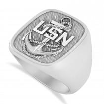 United States Navy Anchor Men's Signet Fashion Ring 14k White Gold