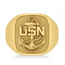 United States Navy Anchor Men's Signet Fashion Ring 14k Yellow Gold