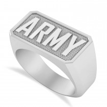 United States Army Men's Signet Fashion Ring 14k White Gold