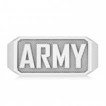 United States Army Men's Signet Fashion Ring 14k White Gold