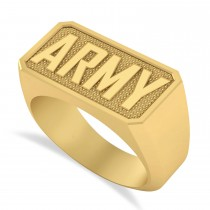 United States Army Men's Signet Fashion Ring 14k Yellow Gold