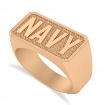 United States Navy Men's Signet Fashion Ring 14k Rose Gold