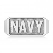 United States Navy Men's Signet Fashion Ring 14k White Gold