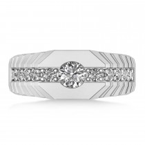 Diamond Chest Men's Ring/Wedding Band 14k White Gold (1.20ct)