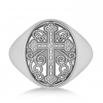 Diamond Antique Cross Mens' Signet Ring 14k White Gold (0.03ct)