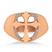 Diamond Cross Cigar Men's Ring 14k Rose Gold (0.14ct)