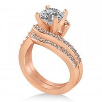 Diamond Accented Tension Set Bridal Set 14k Rose Gold (0.35ct)