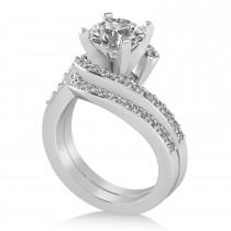 Diamond Accented Tension Set Bridal Set 14k White Gold (2.51ct)