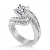 Diamond Accented Tension Set Bridal Set 14k White Gold (0.35ct)