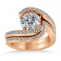 Diamond Accented Tension Set Bridal Set 18k Rose Gold (0.35ct)