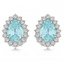 Pear Cut Diamond & Aquamarine Halo Earrings 14k White Gold (0.95ct)