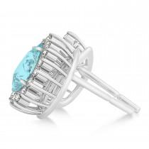 Pear Cut Diamond & Aquamarine Halo Earrings 14k White Gold (0.95ct)