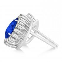 Pear Cut Diamond & Blue Sapphire Halo Earrings 14k White Gold (1.25ct)