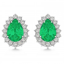 Pear Cut Diamond & Emerald Halo Earrings 14k White Gold (1.15ct)