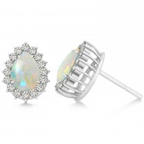 Pear Cut Diamond & Opal Halo Earrings 14k White Gold (0.69ct)