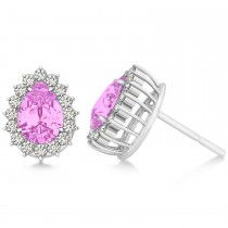 Pear Cut Diamond & Pink Sapphire Halo Earrings 14k White Gold (1.25ct)