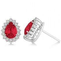 Pear Cut Diamond & Ruby Halo Earrings 14k White Gold (1.25ct)