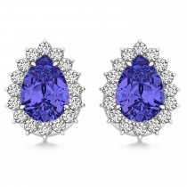 Pear Cut Diamond & Tanzanite Halo Earrings 14k White Gold (1.25ct)