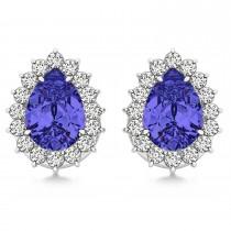 Pear Cut Diamond & Tanzanite Halo Earrings 14k White Gold (1.25ct)|escape