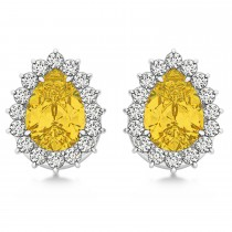 Pear Cut Diamond & Yellow Sapphire Halo Earrings 14k White Gold (1.25ct)