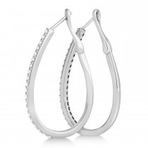 Diamond Round Shape Hoop Earrings in 14k White Gold (0.50ct)