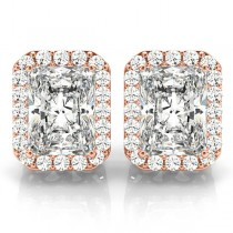 Emerald Cut Diamond Halo Earrings 14k Rose Gold (2.42ct)
