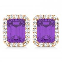 Emerald Cut Amethyst & Diamond Halo Earrings 14k Rose Gold (2.30ct)