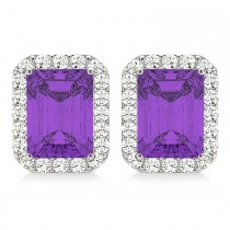 Emerald Cut Amethyst & Diamond Halo Earrings 14k White Gold (2.30ct)