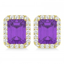 Emerald Cut Amethyst & Diamond Halo Earrings 14k Yellow Gold (2.30ct)